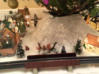 Christmas Village and Train set Under the Tree