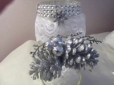 Day #11 Recycle Jars into Bling Holiday Decor | 12 days of Christmas Crafts