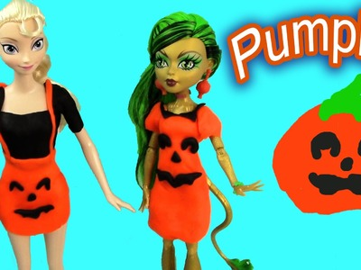 Disney Frozen Queen Elsa Halloween Monster High Playdoh Pumpkin Barbie Doll Costume Dresses