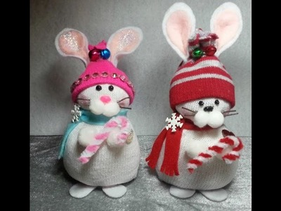 DIY~Adorable Chubby Snow Bunny Made From Child's Dollar Tree Sock! Christmas! EASY NO SEW!