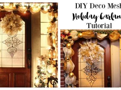 DIY Deco Mesh Garland Tutorial #AtHomeStores #MyReason #ad