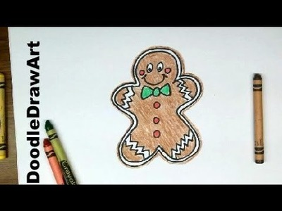 Drawing: How To Draw Gingerbread Man Boy - Easy Drawing Lesson [HD] for kids or beginners