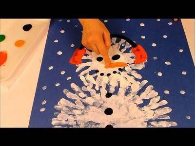 Finger painting a snowman