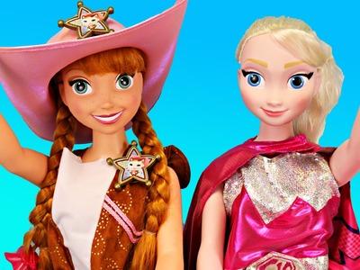 FROZEN My Size Elsa & Anna Dolls DRESS UP ❤ Barbie Superhero Sheriff Callie Wild West DisneyCarToys