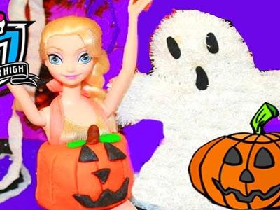 HALLOWEEN PRANK Barbie Frozen Monster High Doll Parody Play-Doh Halloween Costumes DIY KIDS Trick
