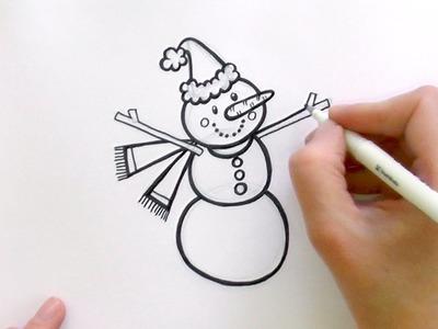 How to Draw a Cartoon Christmas Snowman