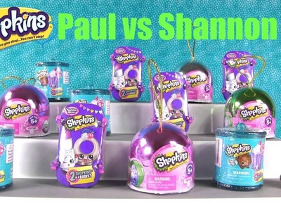 Paul vs Shannon Shopkins Christmas Ornaments Food Fair Fashion Spree Challenge Opening | PSToyReview
