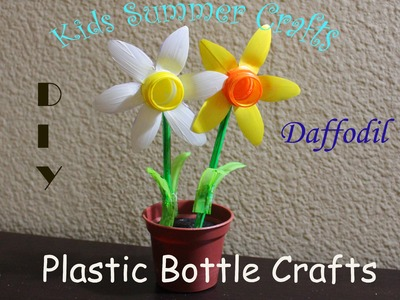Plastic bottle crafts Daffodil:Kids crafts