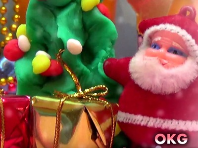 Play Doh Decorating Christmas Tree and Opening XMas Gifts