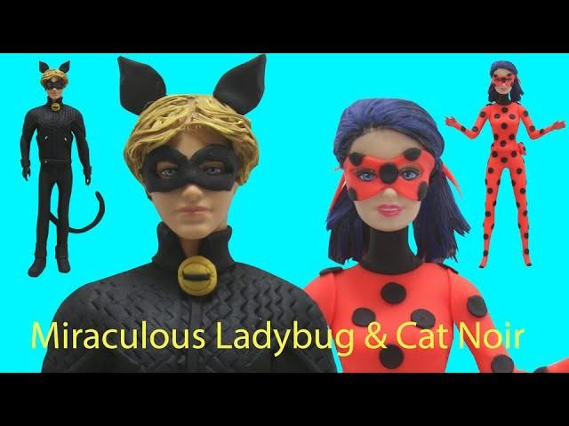 Play Doh Miraculous Ladybug & Cat Noir Inspired Costumes Barbie & Ken Doll