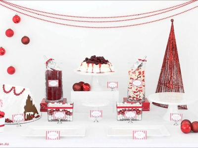 Red and White Christmas Dessert Table by Exclusively Food