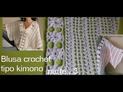 Blusa crochet tipo kimono ( parte 3)
