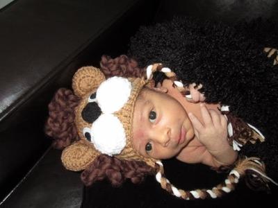 Crochet newborn baby lion hat for beginners