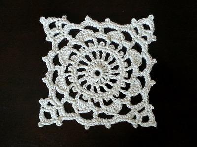 Crochet Square Motif - Wheel Mini Doily Pattern