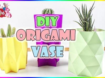 DIY 3D Origami Vase | How To Make Paper Vase Tutorial | Home Decorations