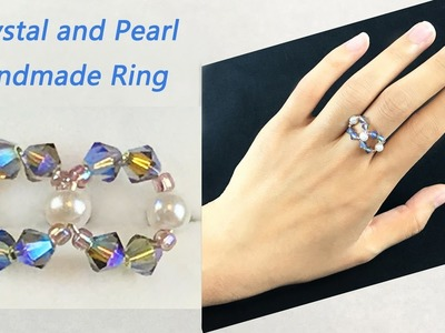 DIY Beading Crystal & Pearl Ring: Handmade Wire and Beading Ring