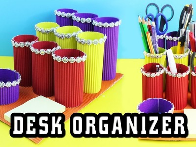 ????????DIY Cardboard Desk Organizer - 5 minute crafts - simplekidscrafts