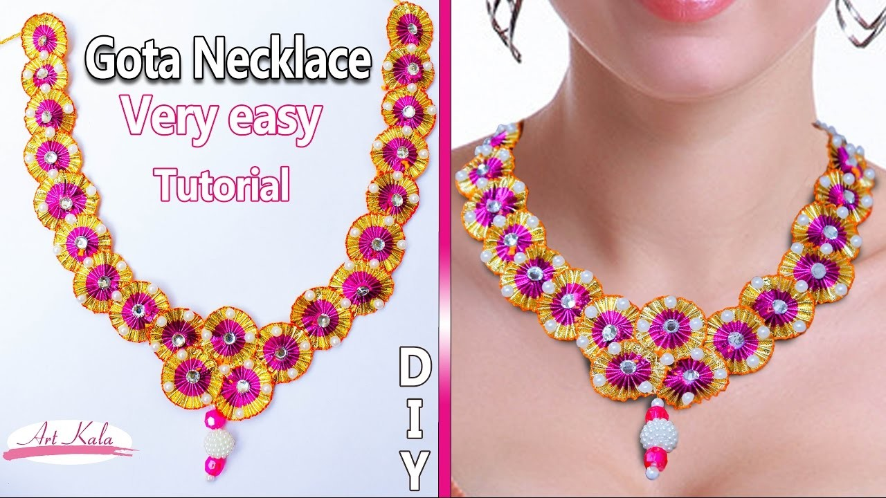DIY: Gota necklace | Gota necklace at home | womens jewellery Tutorial | Artkala 131
