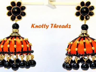 DIY | How to make Designer Silk Thread Jhumkas at Home | Tutorial | Knotty Threadz !!