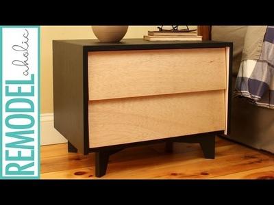 DIY Mid-Century Modern Nightstand Build | with DIY Drawer Slides