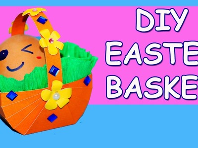 DIY paper crafts. DIY easter crafts. How to make paper easter basket. Easter basket ideas.Julia DIY