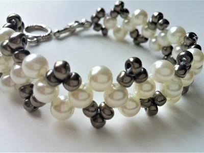 DIY Pearl Bracelet .Beaded jewelry pattern for beginners