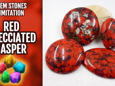 DIY Polymer Clay Red Brecciated Jasper Gemstone and Red Turquoise. Gemstone imitation technique.