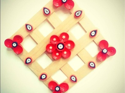 DIY Quilling Paper Wall Hanging. Popsicle Sticks.Home Decor.Tutorial
