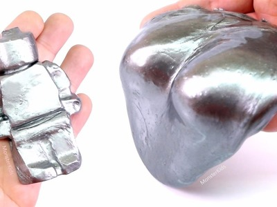 DIY STEEL SLIME ! How To Make Super Gloss Metal Slime Putty! With LEGO - MonsterKids