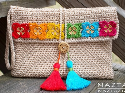 DIY Tutorial - Crochet Bohemian Clutch - Boho Evening Hand Bag Bolsa Collab - Hectanooga1