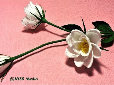 Easy diy Origami lisianthus paper flower.crepe paper flower making step by step.craft paper tutorial
