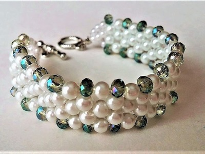 Elegant Evening Beaded Bracelet. DIY beaded Jewelry: Pearls and Crystal Beads