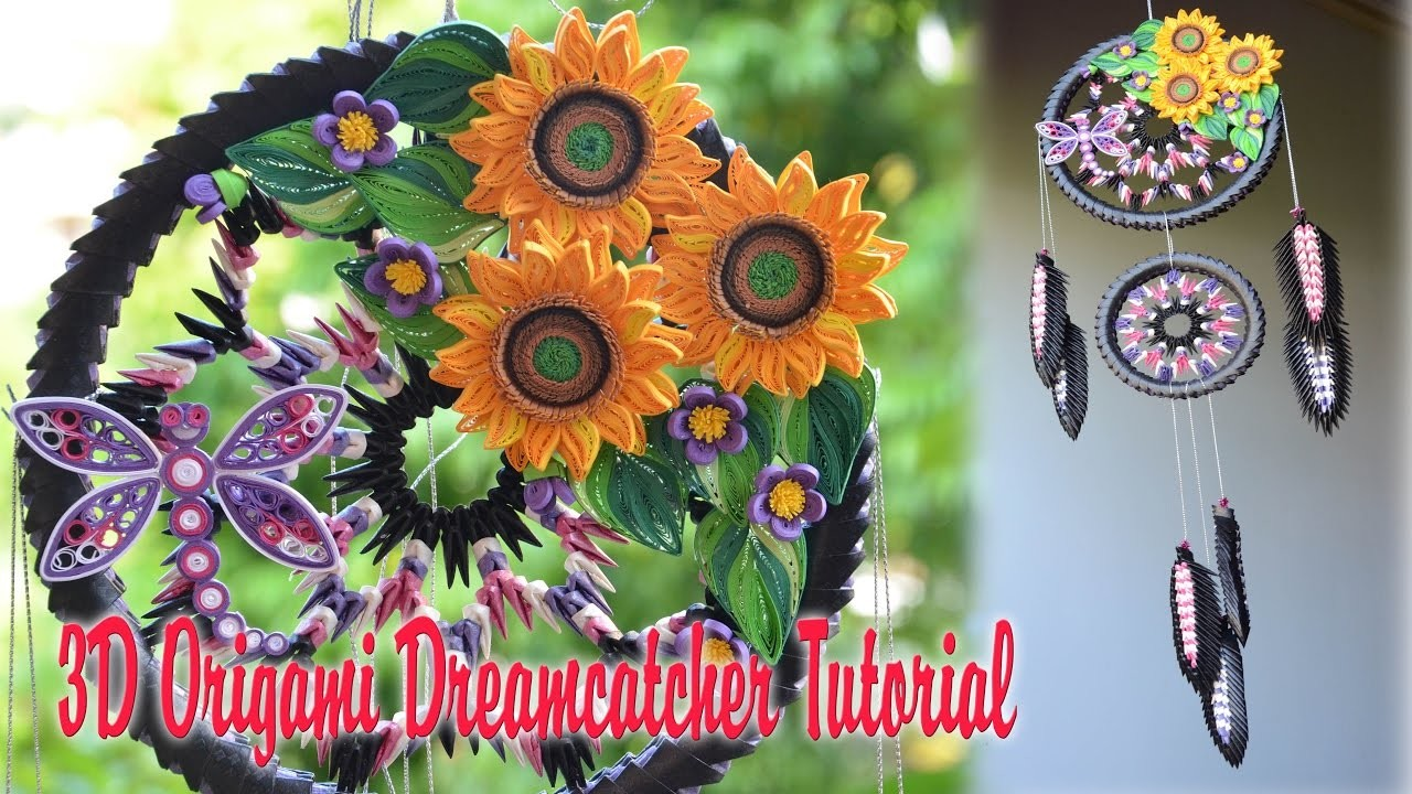 HOW TO MAKE 3D ORIGAMI DREAMCATCHER | DIY PAPER DREAMCATCHER TUTORIAL