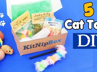 HOW TO MAKE 5 MINIATURE CAT TOYS SUBSCRIPTION BOX | diy dolls crafts tutorial