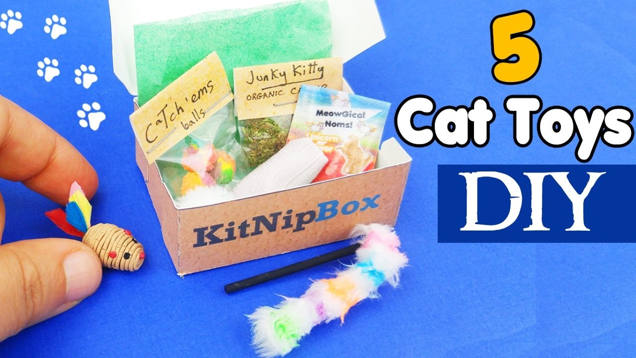 HOW TO MAKE 5 MINIATURE CAT TOYS SUBSCRIPTION BOX   diy dolls crafts tutorial