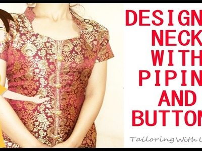 How To Make Designer Neck Using Lace As Piping | Easy Method | DIY - Tailoring With Usha