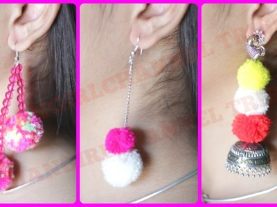 How to make earrings.pompom earrings DIY. INDIANGIRLCHANNEL TRISHA
