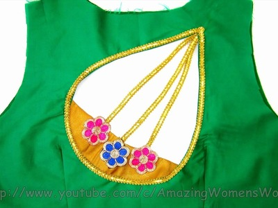 How To Make LATEST DESIGNER BRIDAL BACK NECK BLOUSE DESIGN PATTERN AT HOME - DIY- STEP BY STEP