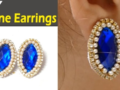 How to make Paper Stone Earrings Jewellery at Home | Earrings Making Video