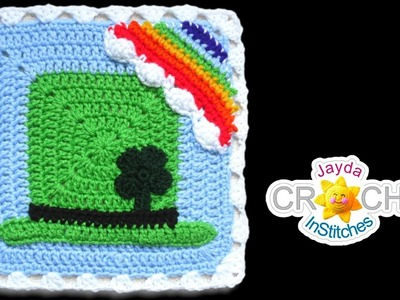 Leprechaun Hat Blanket Square - Crochet Motif - March