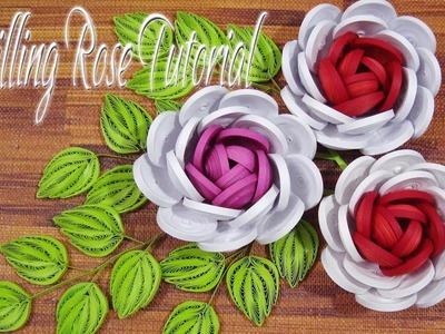 QUILLING ROSE FLOWER TUTORIAL | DIY PAPER ROSE FLOWER TUTORIAL