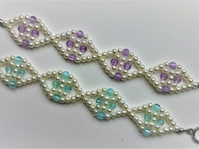 Two beautiful beaded simple bracelet -1pattern. DIY elegant pearl bracelets