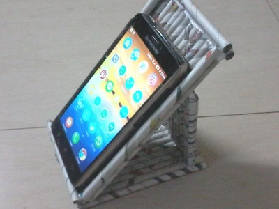 DIY: How to make phone stand using newspaper rolls.tubes -  - best out of waste project
