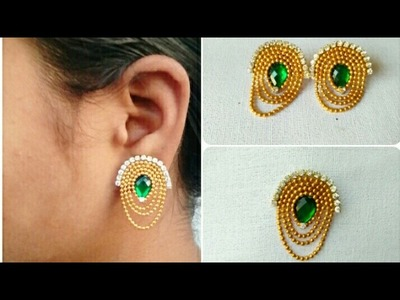 DIY. Latest Earrings. How To  Make Simple And Easy Earrings.Home Made Tutorial :-)