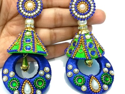 DIY | Party Wear Jhumkas | How to Make Silk Thread Designer Jhumkas | Meenakari Inspired Design