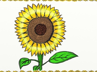 Drawing a simple sunflower | How to draw a sunflower | Drawing for kids