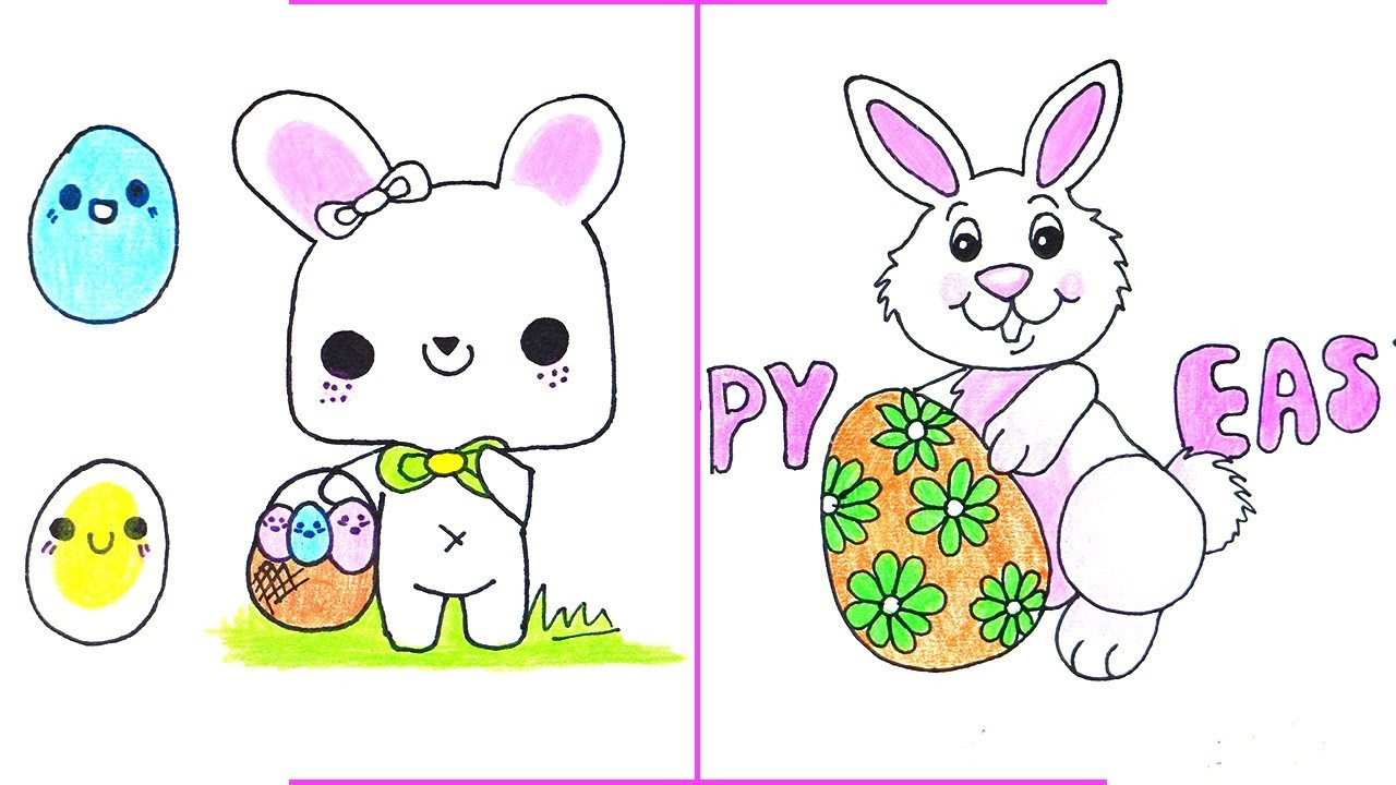 Easter Drawings - How to Draw A Easter Bunny with Easter Egg Easily