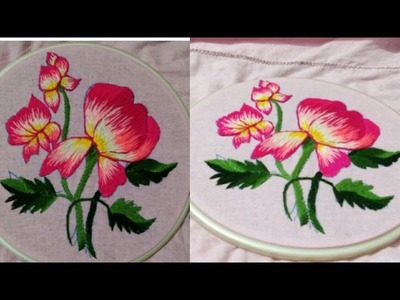 Hand embroidery beautiful wild rose flower and how to start without knot