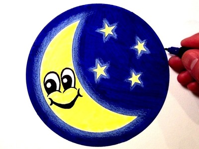 How to Draw a Cute Moon Smiley Face with Stars