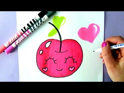 HOW TO DRAW A SUPER CUTE AND EASY CHERRY - KAWAII CHERRY TO DRAW